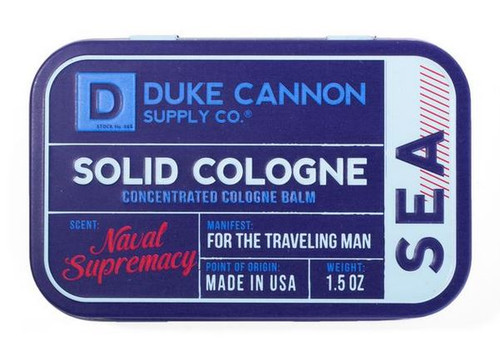Duke Cannon Men's Solid Cologne Concentrated Cologne Balm, Naval Supremacy, 1.5 oz