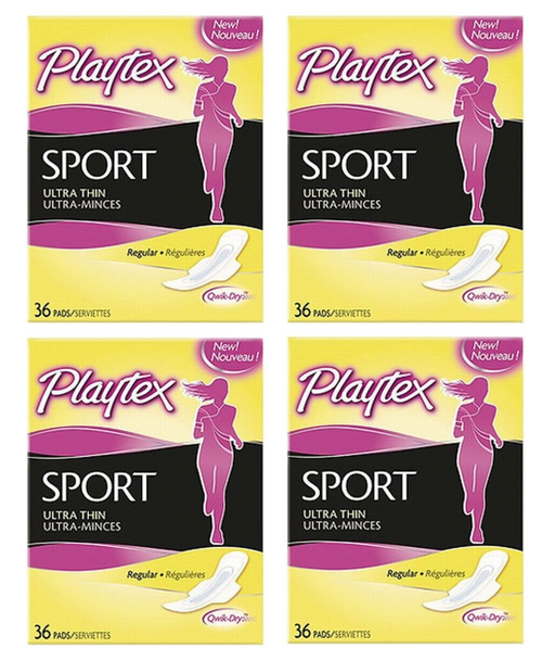 Playtex Sport Ultra Thin Pads Regular with Wings, 36 ct, 4 PACKS, 1 CASE