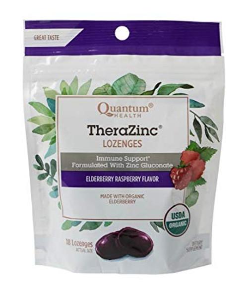 Quantum Health Thera Zinc Lozengers, Elderberry Raspberry, 18 ct