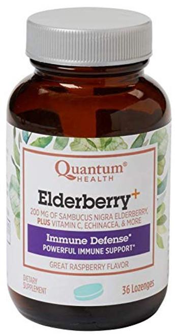 Quantum Health Elderberry+ Lozengers, Raspberry, 36 ct