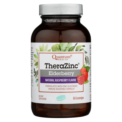 Quantum Health Thera Zinc Elderberry Lozengers, Raspberry, 60 ct