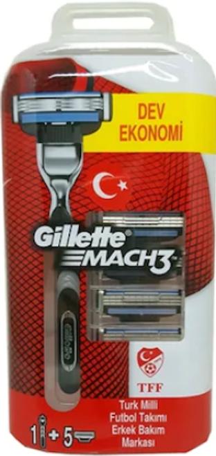 Gillette Mach3 Razor Handle + 5 Refill Cartridges, WITH FREE 2 OZ SHAVING CREAM