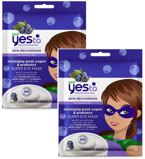 Yes To Super Blueberries for Stressed Skin Recharging Greek Yogurt and Probiotics Super Eye Mask, 2 PACKS