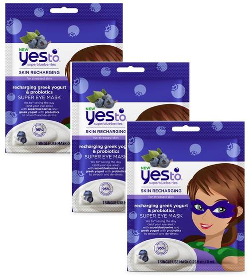 Yes To Super Blueberries for Stressed Skin Recharging Greek Yogurt and Probiotics Super Eye Mask, 3 PACKS