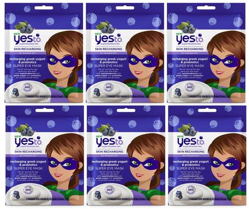 Yes To Super Blueberries for Stressed Skin Recharging Greek Yogurt and Probiotics Super Eye Mask, 6 PACKS