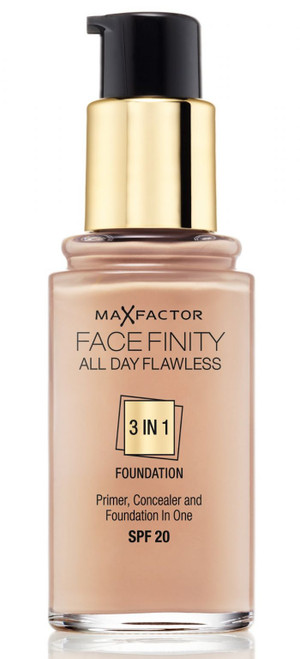 Max Factor FaceFinity All Day Flawless 3-In-1 Primer & Concealer Foundation,  1 oz (WITH FREE MAKEUP BLENDER, COLORS MAY VARY)