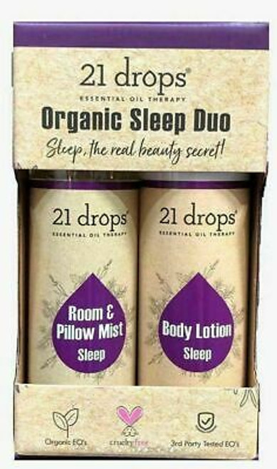 21 Drops Organic Sleep Duo Body Lotion + Room & Pillow Mist Essential Oil, 16.5 Oz