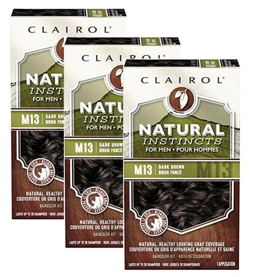 Clairol Natural Instincts for Men, Long Lasting Hair Color, M13 Dark Brown, 3 PACKS