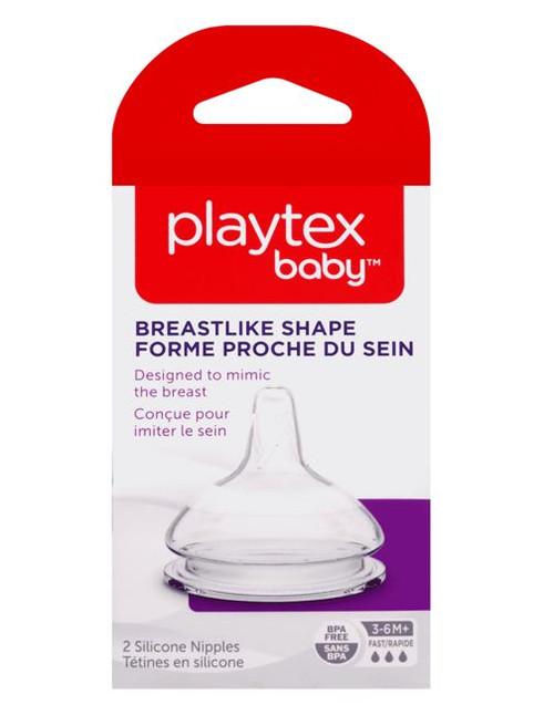 Playtex Baby Breastlike Shape Silicone Nipple, Fast Flow 3-6M+, 2 Ct