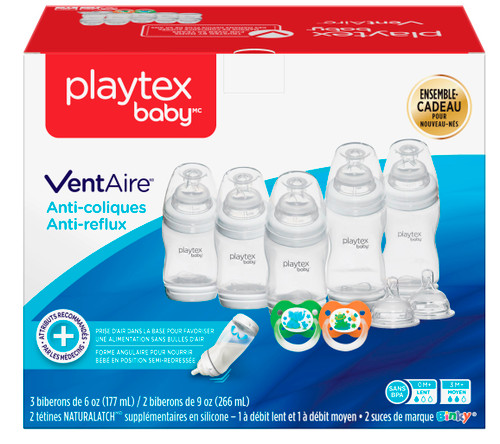 Playtex Baby VentAire Anti Colic, Anti Reflux Newborn Gift Set, 9 Pc Set