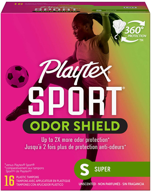 Playtex Sport 360 Protection Odor Shield Tampons, Super, Unscented, 16 ct