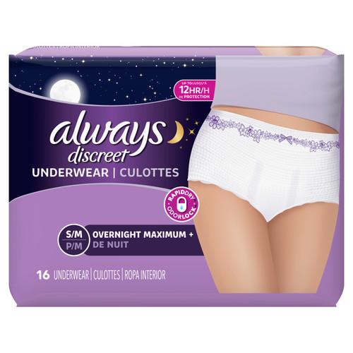 Always Discreet Bladder Protection Overnight S/M Underwear, 16 ct, 3 CT, 1 CASE