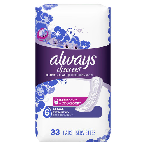 Always Discreet Bladder Protection, Extra Heavy Pads, 33 ct, 2 CT, 1 CASE
