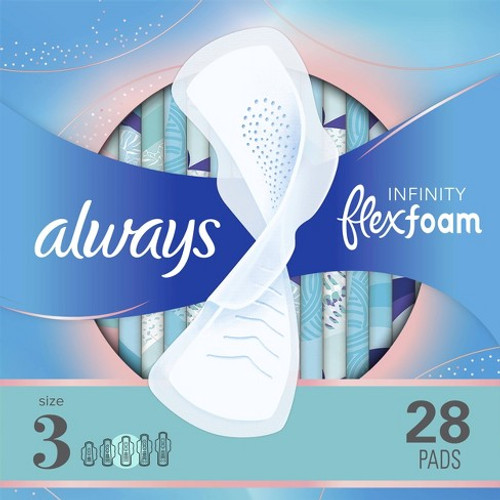 Always Infinity Flexfoam Extra Heavy Flow Pads with Wings, Unscented, 28 ct, 6 PACKS, 1 CASE