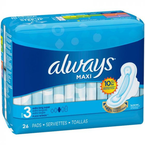 Always Maxi Extra Long Super Pads with Wings, 26 ct, 6 PACKS, 1 CASE