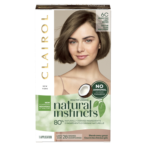 Clairol Natural Instincts Brass Free & Ammonia-Free Haircolor, 6C Light Brown