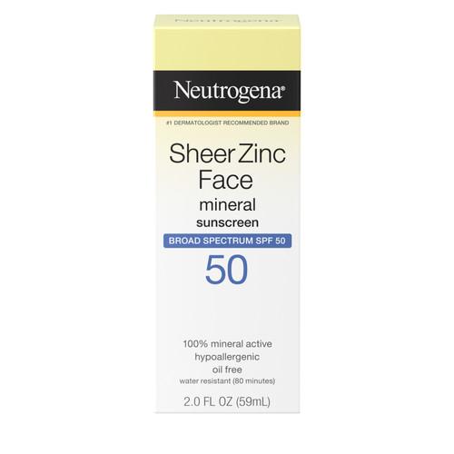 Neutrogena Sheer Zinc Face Mineral Sunblock with SPF 50, 3 oz