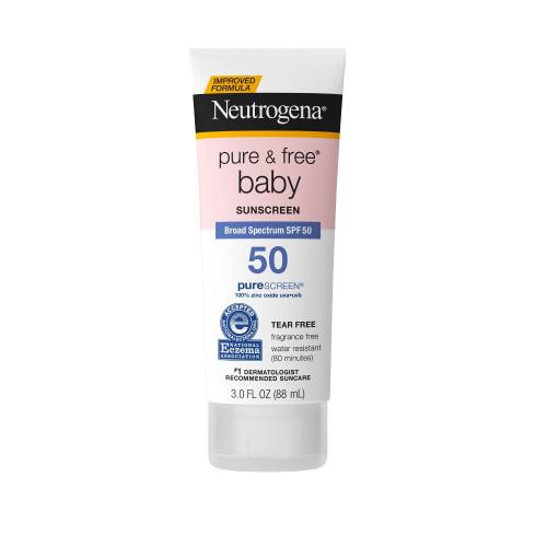 Neutrogena Pure & Free Baby Sunblock Lotion with SPF 50, 3 oz
