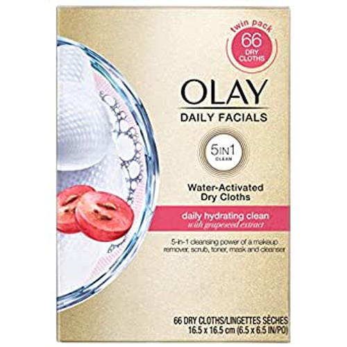 Olay Daily Facials Water-Activated 5-In-1 Dry Cloths, Hydrating Clean, 66 Ct
