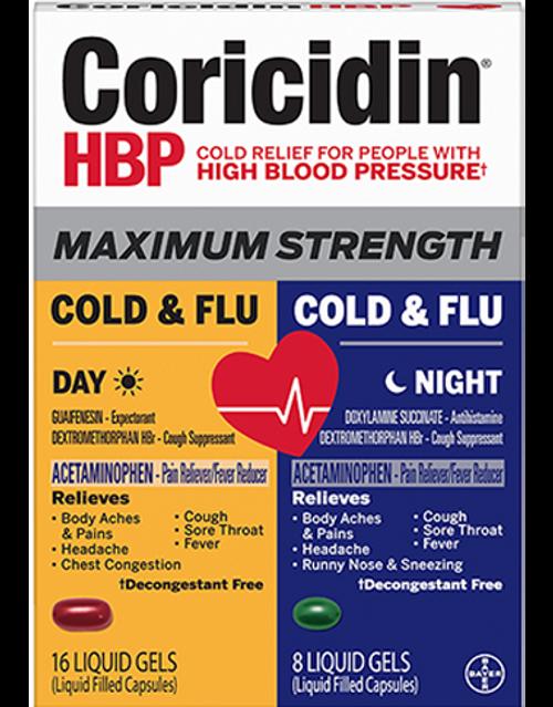 Coricidin HBP Maximum Strength Cold & Flu Day & Night Liquid Gels, 24 ct