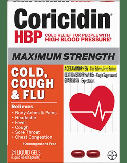 Coricidin HBP Maximum Strength Cold, Cough & Flu Liquid Gels, 24 ct