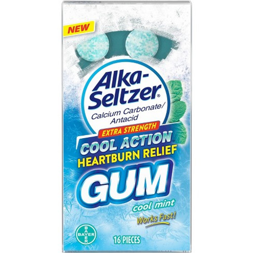 Alka Seltzer Antacid  Extra Strength Cool Action Heartburn Relief, Cool Mint Gum, 16 ct