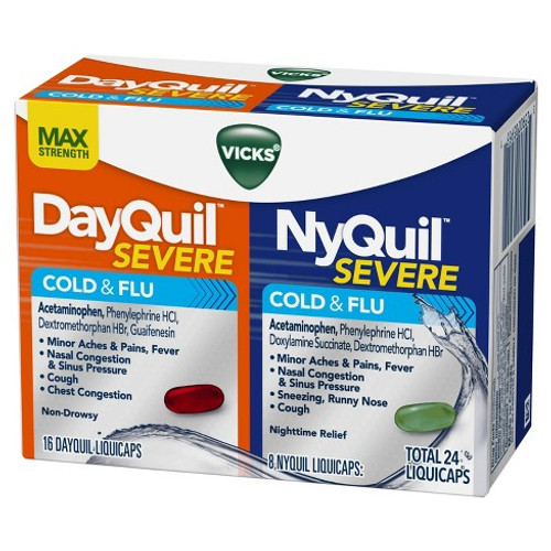 Dayquil + Nyquil Severe Cold & Flu Relief Liquicaps, 24 ct