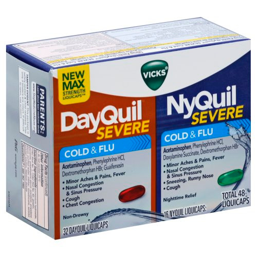 Dayquil + Nyquil Severe Cold & Flu Relief Liquicaps, 48 ct