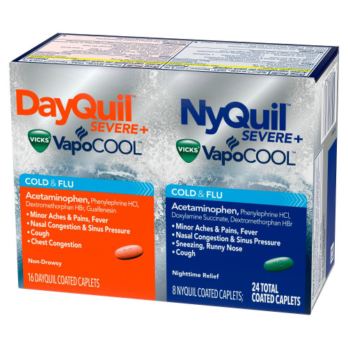Dayquil + Nyquil Severe Vapocool Cold & Flu Relief Caplets, 24 ct