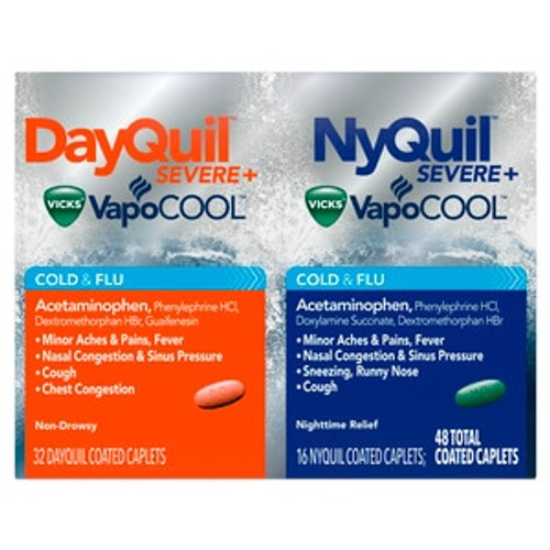 Dayquil + Nyquil Severe Vapocool Cold & Flu Relief Caplets, 48 ct