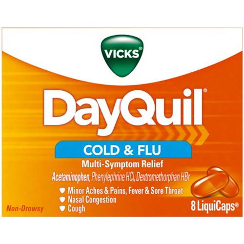 Dayquil Cold & Flu Multi-Symptom Relief Liquicaps, 8 ct