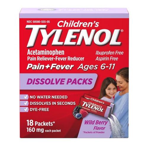 Children's Tylenol Dissolve Packs Pain Reliever + Fever Reducer, Grape, 18 ct