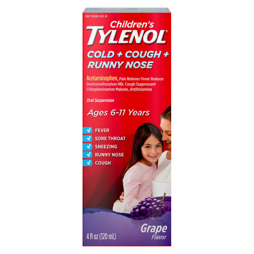 Children's Tylenol Cold + Cough + Runny Nose Pain Reliever + Fever Reducer Liquid, Grape, 4 oz