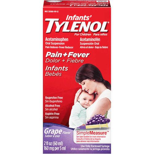 Tylenol Infants Oral Suspension Pain Reliever + Fever Reducer Liquid, Grape, 2 oz