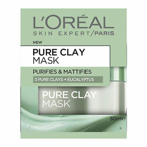 L'Oreal Pure Clay Mask, Purifies & Mattifies with Eucalyptus, 50 Ml