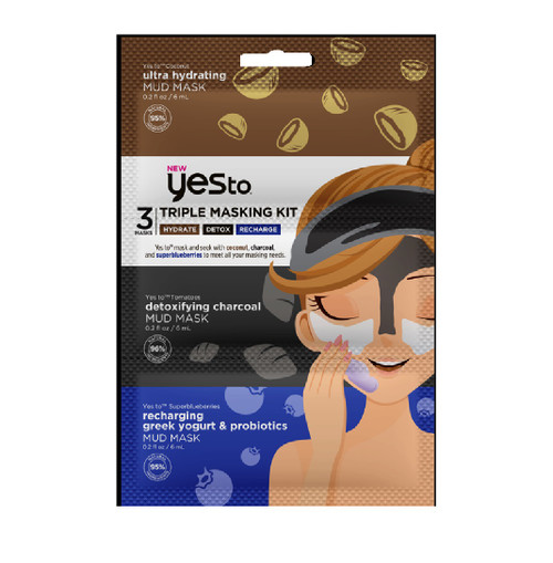 Yes To Triple Mud Mask Kit, Tomato Hydrate, Tomato Detox & Super Blueberries Recharge, 6 PACKS