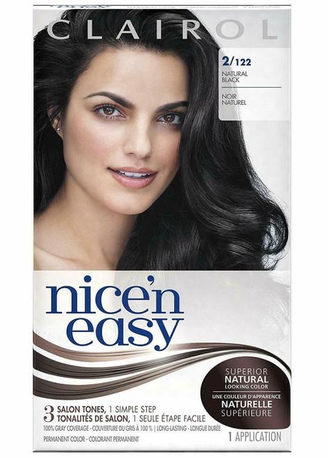 Clairol Nice 'N Easy Permanent Hair Color Kit, 2/122 Natural Black