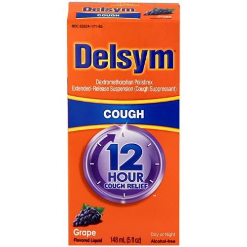 Delsym Alcohol Free Extented Release Liquid Cough Suppressant, Grape, 5 oz