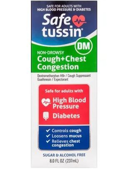 Safe Tussin DM Cough + Chest Congestion Suppressant + Expectorant Sugar Free Formula, 8 oz