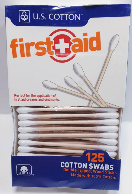 First Aid Cotton Swabs, 125 ct, 3 PACKS