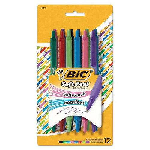 BIC Soft Feel Ball Pen, Soft Touch Comfort, Medium, Assorted Colors, 12 CT