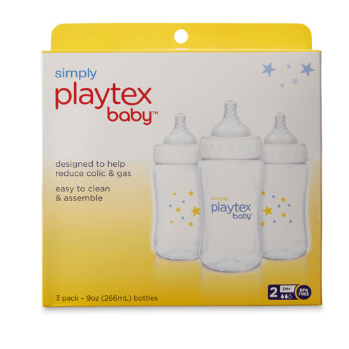 Simply Playtex Baby Bottles, Reduces Colic & Gas, 9 oz, 3 ct