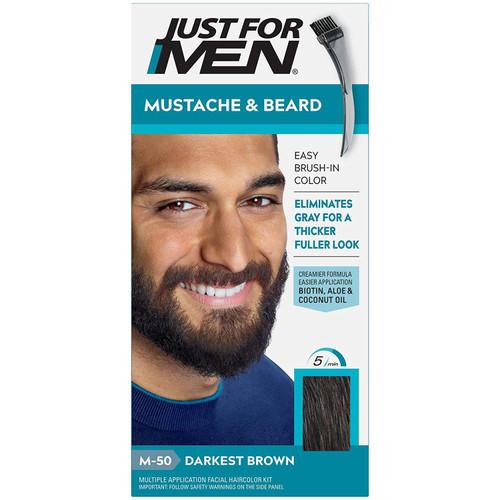 Just For Men Mustache & Beard Brush-In Color, Darkest Brown M-50