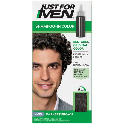 Just For Men Original Formula Hair Color Kit, Darkest Brown, H-50
