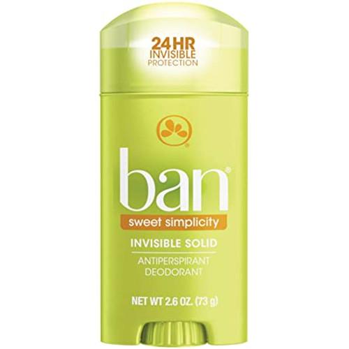 Ban Anti-Perspirant & Deodorant Invisible Solid, Sweet Simplicity, 2.6 oz