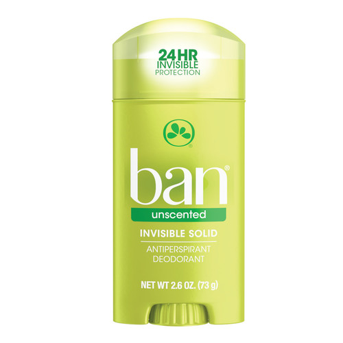 Ban Anti-Perspirant & Deodorant Invisible Solid, Unscented, 2.6 oz