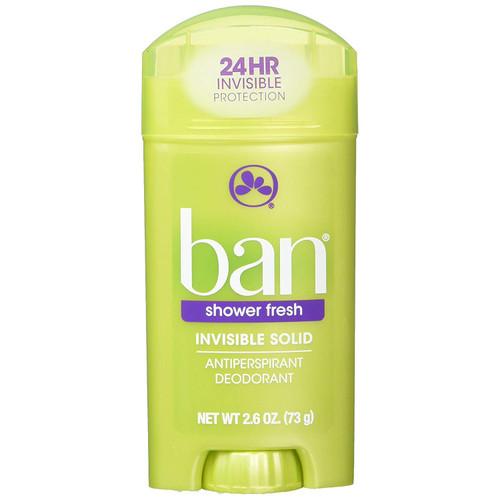 Ban Anti-Perspirant & Deodorant Invisible Solid, Shower Fresh, 2.6 oz