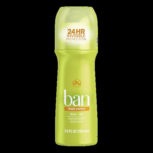Ban Anti-Perspirant & Deodorant Original Roll-On, Fresh Cotton, 3.5 oz