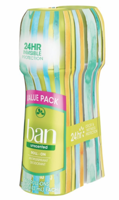 Ban Anti-Perspirant & Deodorant Original Roll-On Valuepack, Unscented, 3.5 oz, 2 CT