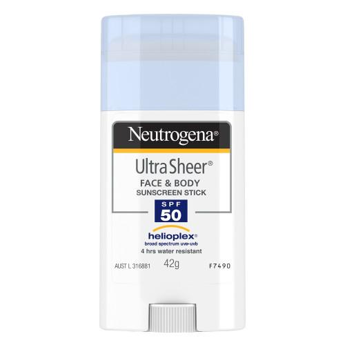 Neutrogena Ultra Sheer Face + Body Stick Sunscreen Broad Spectrum Sunscreen SPF 50, 42 Gr